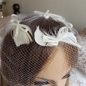 Bridal Veil Hat Feathers and Bow Antique genuine